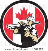 Vector Clip Art of Retro Male Carpenter Holding a Thumb up and Carrying Lumber in a Canadian Flag Circle by Patrimonio