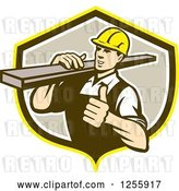 Vector Clip Art of Retro Male Carpenter Holding a Thumb up and Carrying Lumber in a Shield by Patrimonio