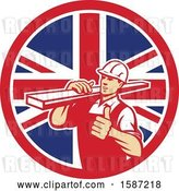 Vector Clip Art of Retro Male Carpenter Holding a Thumb up and Carrying Lumber in a Union Jack Flag Circle by Patrimonio