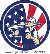 Vector Clip Art of Retro Male Carpenter Holding a Thumb up and Carrying Lumber in an American Flag Circle by Patrimonio