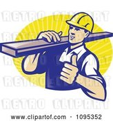 Vector Clip Art of Retro Male Carpenter Holding a Thumb up and Carrying Lumber over Yellow Rays by Patrimonio