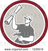 Vector Clip Art of Retro Male Carpenter Holding up Blueprints and a Hammer in a Circle by Patrimonio