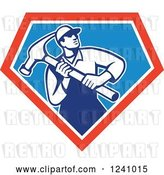 Vector Clip Art of Retro Male Carpenter with a Giant Hammer in a Triangle by Patrimonio