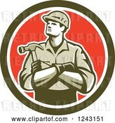 Vector Clip Art of Retro Male Carpenter with Folded Arms and a Hammer in a Circle by Patrimonio