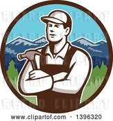 Vector Clip Art of Retro Male Carpenter with Folded Arms, Holding a Hammer in a Circle of Mountains by Patrimonio