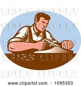 Vector Clip Art of Retro Male Carpenter Working with Smooth Plane over a Blue Oval by Patrimonio