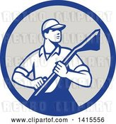 Vector Clip Art of Retro Male Carpet Cleaner in a Blue and Gray Circle by Patrimonio