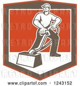 Vector Clip Art of Retro Male Carpet Cleaner Working in a Shield by Patrimonio