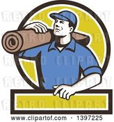 Vector Clip Art of Retro Male Carpet Layer Carrying a Roll in a Black White and Green Frame by Patrimonio
