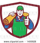 Vector Clip Art of Retro Male Carpet Layer Giving a Thumb up and Carrying a Roll in a Shield by Patrimonio