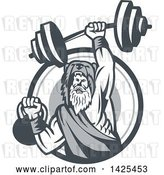 Vector Clip Art of Retro Male Champion Norse Warrior, Berserker, Wearing a Pelt of Bear Skin, Lifting a Barbell and Kettlebell, Emerging from a Circle by Patrimonio