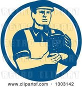 Vector Clip Art of Retro Male Cheesemaker Holding a Parmesan Round in a Blue White and Yellow Circle by Patrimonio
