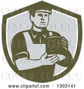 Vector Clip Art of Retro Male Cheesemaker Holding a Parmesan Round in a Dark Green White and Gray Shield by Patrimonio