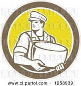 Vector Clip Art of Retro Male Cheesemaker Holding a Parmesan Round in a Tan Brown White and Yellow Circle by Patrimonio