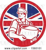 Vector Clip Art of Retro Male Cheesemaker Holding a Parmesan Round in a Union Jack Flag Circle by Patrimonio