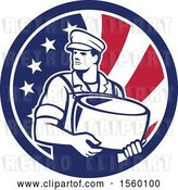 Vector Clip Art of Retro Male Cheesemaker Holding a Parmesan Round in an American Flag Circle by Patrimonio