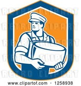 Vector Clip Art of Retro Male Cheesemaker Holding a Parmesan Round in an Orange Blue and White Shield by Patrimonio