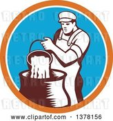 Vector Clip Art of Retro Male Cheesemaker Pouring a Bucket of Curd and Whey into a Vat in an Orange White and Blue Circle by Patrimonio