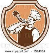 Vector Clip Art of Retro Male Chef Blowing a Horn in a Brown and Tan Shield by Patrimonio