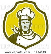 Vector Clip Art of Retro Male Chef Bust in a Green and White Shield by Patrimonio
