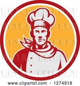 Vector Clip Art of Retro Male Chef Bust in a Red White and Yellow Circle by Patrimonio