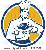 Vector Clip Art of Retro Male Chef Carrying a Roasted Chicken on a Platter in a Blue White and Yellow Circle by Patrimonio