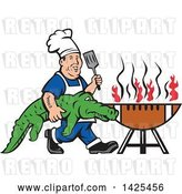 Vector Clip Art of Retro Male Chef Carrying an Alligator and Spatula to a Football Grill by Patrimonio