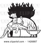 Vector Clip Art of Retro Male Chef Carrying and Alligator to a Football Shaped Bbq Grill Under Flames by Patrimonio