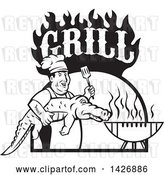 Vector Clip Art of Retro Male Chef Carrying and Alligator to a Football Shaped Bbq Under Grill Text Flames by Patrimonio