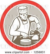 Vector Clip Art of Retro Male Chef Carving Meat in a Red White and Tan Circle by Patrimonio
