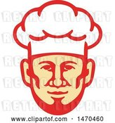 Vector Clip Art of Retro Male Chef Face with a Toque Hat by Patrimonio
