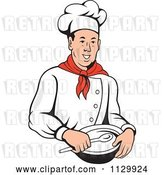 Vector Clip Art of Retro Male Chef Holding a Bowl and Spoon by Patrimonio
