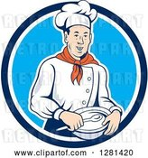 Vector Clip Art of Retro Male Chef Holding a Bowl and Spoon in a Blue and White Circle by Patrimonio