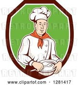 Vector Clip Art of Retro Male Chef Holding a Bowl and Spoon in a Brown White and Green Shield by Patrimonio
