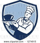Vector Clip Art of Retro Male Chef Holding a Bowl of Soup in a Blue and White Shield by Patrimonio