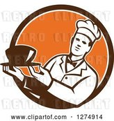 Vector Clip Art of Retro Male Chef Holding a Bowl of Soup in a Brown White and Orange Circle by Patrimonio