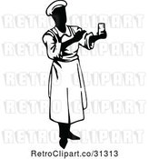 Vector Clip Art of Retro Male Chef Holding a Cup by Prawny Vintage
