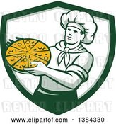 Vector Clip Art of Retro Male Chef Holding a Pizza Pie in a White and Green Shield by Patrimonio