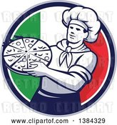 Vector Clip Art of Retro Male Chef Holding a Pizza Pie in an Italian Flag Circle by Patrimonio