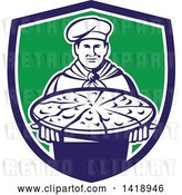 Vector Clip Art of Retro Male Chef Holding a Pizza Pie on a Blue White and Green Shield by Patrimonio