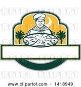 Vector Clip Art of Retro Male Chef Holding a Pizza Pie with Palmetto Trees by Patrimonio