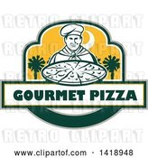 Vector Clip Art of Retro Male Chef Holding a Pizza Pie with Text and Palmetto Trees by Patrimonio