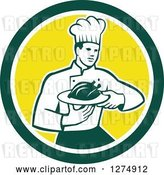 Vector Clip Art of Retro Male Chef Holding a Roasted Chicken on a Plate in a Green White and Yellow Circle by Patrimonio