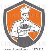 Vector Clip Art of Retro Male Chef Holding a Roasted Chicken on a Plate in a Shield by Patrimonio