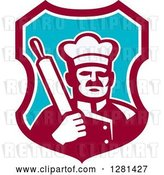 Vector Clip Art of Retro Male Chef Holding a Rolling Pin over His Shoulder in a Maroon White and Blue Shield by Patrimonio