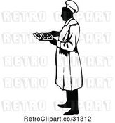 Vector Clip Art of Retro Male Chef Holding a Tray by Prawny Vintage