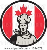 Vector Clip Art of Retro Male Chef in a Canadian Flag Circle by Patrimonio