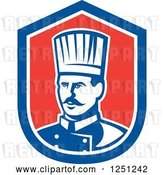 Vector Clip Art of Retro Male Chef in a Red White and Blue Shield by Patrimonio