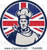 Vector Clip Art of Retro Male Chef in a Union Jack Flag Circle by Patrimonio
