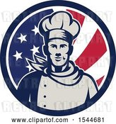 Vector Clip Art of Retro Male Chef in an American Flag Circle by Patrimonio